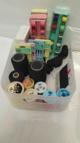 ダイソー収納透明ボックスに裁縫道具を入れてみた