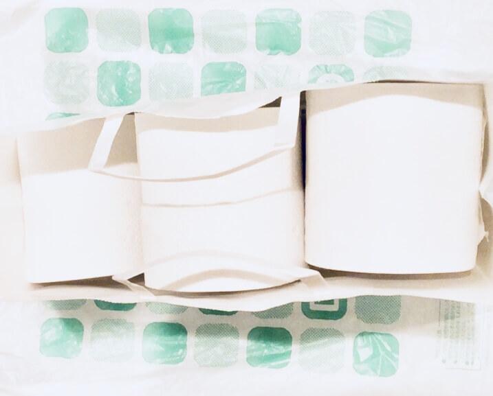 ダイソーの真っ白でシンプルな紙袋にトイレットペーパーを入れてみた