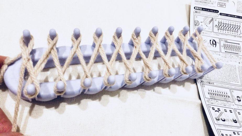 ダイソーの編み物メーカー毛糸でリリアン