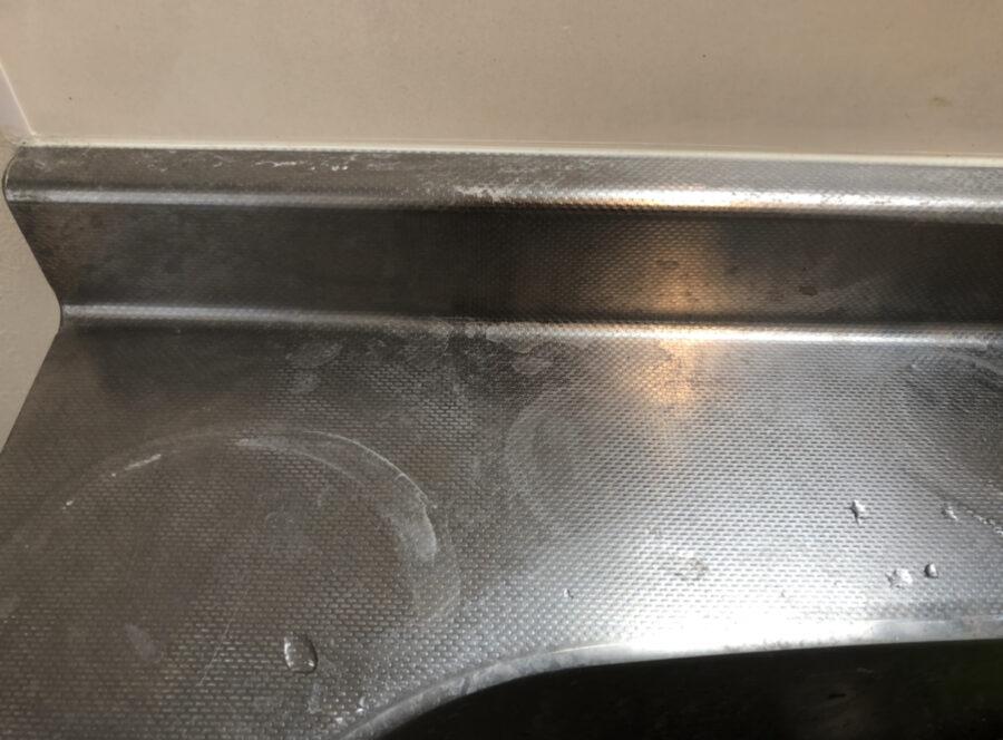 ダイソーのステンレス流し台ミガキを使う前のシンク