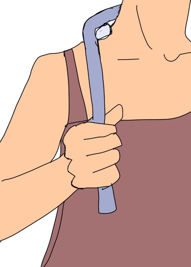 ダイソーのマッサージグッズ「ネックすっきり」を使ったイラスト